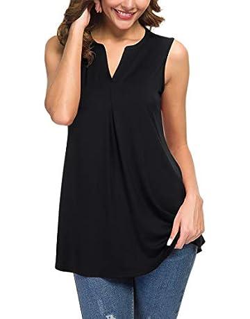 48517d1af82 Neineiwu Women's Summer Sleeveless V Neck Casual Tank Tops Blouse Shirts