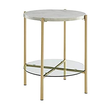 """WE Furniture AZF20SRDSTMGD Side Table, 20"""", Faux White Marble/Gold"""