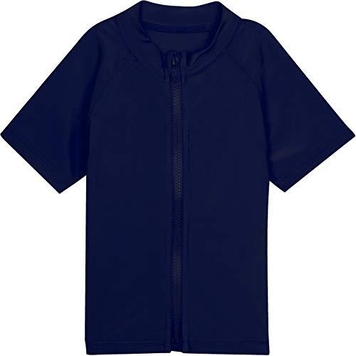 SwimZip Little Boys' Short Sleeve Zipper Rash Guard UPF 50+ Navy Blue