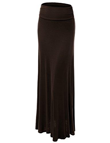 Made By Johnny WB296 Womens Lightweight Floor Length Maxi Skirt XL Brown