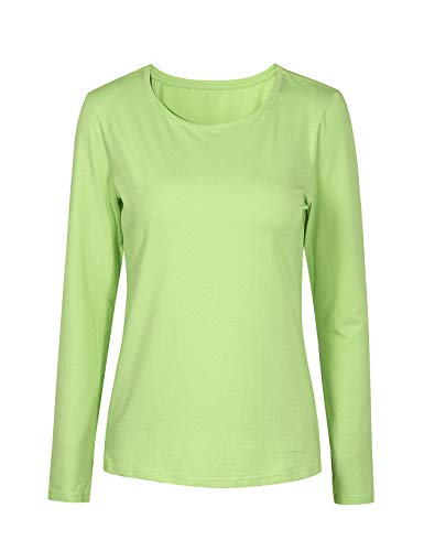 Escalier Women's Basic Solid Cotton Long Sleeve Crew Neck Top T-Shirts Fruit Green M