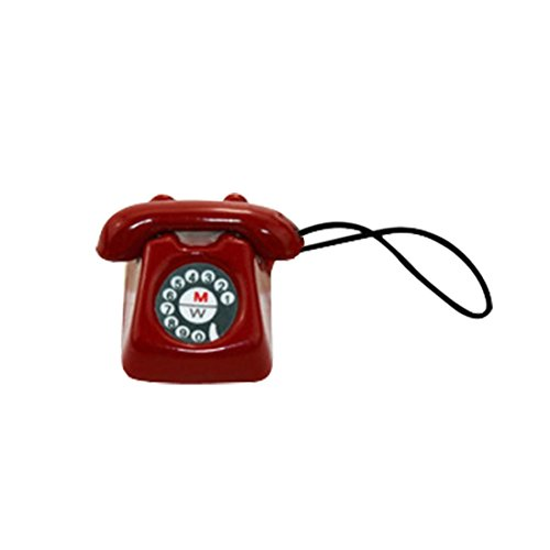 Gbell Mini Telephone Phone Model for 1/12 or 1/6 Scale Miniature Decoration, Kids Girls Dollhouse Accessories Toy (Red)