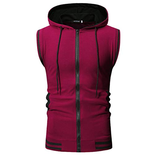 - Allywit-Mens Slim Fit Lightweight Active Sleeveless Zip-up Hooded Vest Gym Tank Top Wine Red