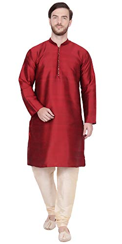 - SKAVIJ Men's Tunic Kurta Pajama Set Traditional Dress (Medium, Red)