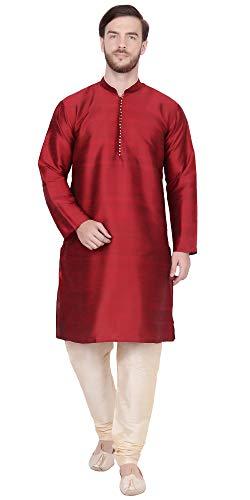 SKAVIJ Men's Tunic Kurta Pajama Set Traditional Dress (Medium, Red)