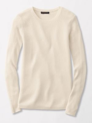 Jewel Neck Sweater - Pendleton Women's Rib Jewel Neck Pullover Sweater, Ivory, Small