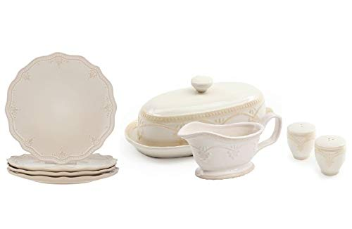 The Pioneer Woman Farmhouse Lace Dinner Plate Set 4-Pack in Linen with Lace Butter Dish with Gravy Boat and Salt & Pepper Shakers