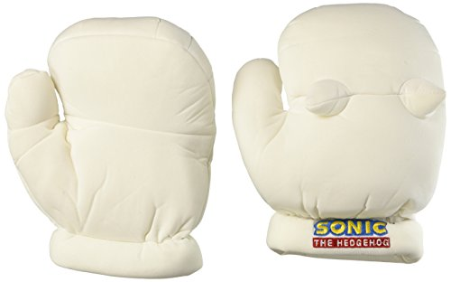 Shadow Sonic Costume (GE Animation GE-8807 Sonic the Hedgehog Knuckles Cosplay Plush Gloves, White, 9