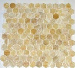 4x4 Sample of Honey Onyx Hexagon Pattern Polished Mosaic Tiles