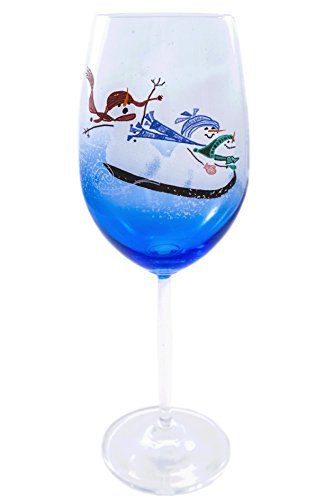 Snowfolks Stemware Collection, Winter Blizzard Thrilling Sled Ride for 3 Cute and Funny Snowmen, 20 Ounce Large, Unique Painted Wine Glass Design Decorated with Snowflakes, Cobalt Blue Glassware (Funny Halloween Toasts)