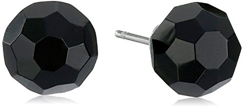 Stainless Silver Ion-Plated Plated Black Faceted Simulated Onyx Stud (Faceted Onyx Ring)