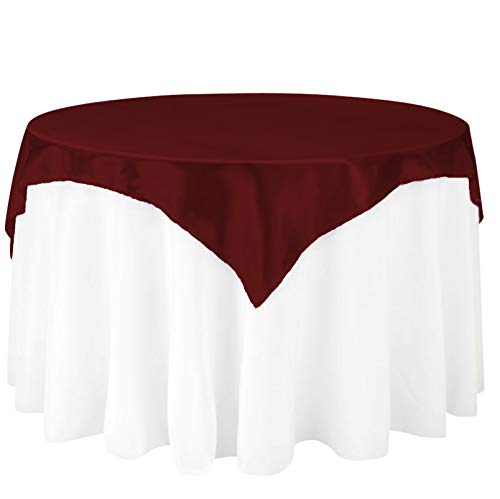 LinenTablecloth 72-Inch Square Satin Overlay Burgundy