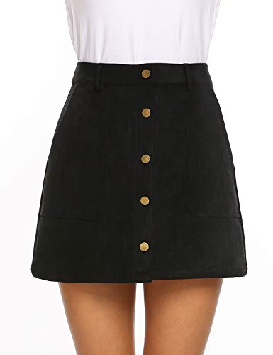 (Anmery Button Front High Waist Mini Vintage Skirts with Pocket for Women Large Black)