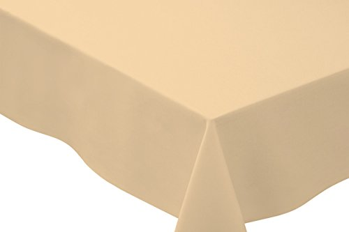 Basic Tablecloth (Bright Settings 70 x 144 Inch Rectangle Tablecloth, Flame Retardant Basic Polyester, Oyster)