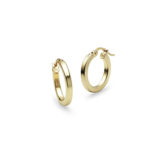 Polished Square Earrings - Yellow Gold Flashed Sterling Silver Polished 2x15mm Square Tube Hoop Earrings