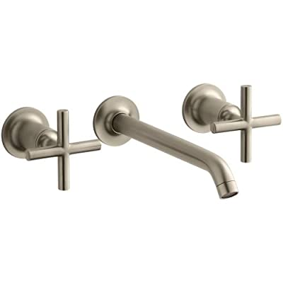 "KOHLER Purist Two-Handle Wall-Mount Lavatory Faucet Trim with 8-1/4"" Spout and Cross Handles, Less Drain, Valve Not Included"