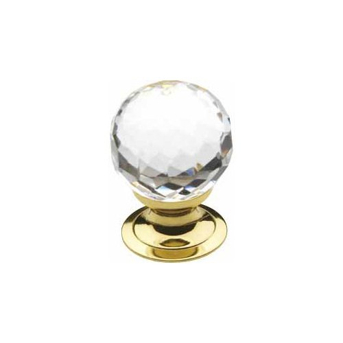 0.75' Knob - Baldwin Estate 4318.030 Swarovski Crystal Round Cabinet Knob in Polished Brass, 1.19