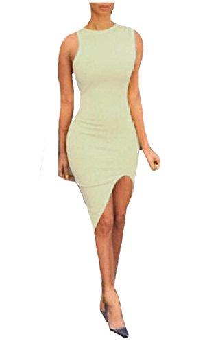 Split Sexy Dresses Pencil Women Sleeveless Sheath Beige Cocktail Coolred Club A5xqpw5F