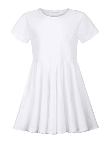 Balasha Girls Short Sleeve High Low Swing Spinning Skater Dress