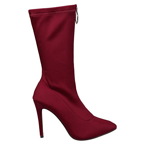 Boots Feet Zip Calf Mid Heel First Womens Cynthia Stilleto Red Up Fashion Pointed Toe grqr7Ywx4v