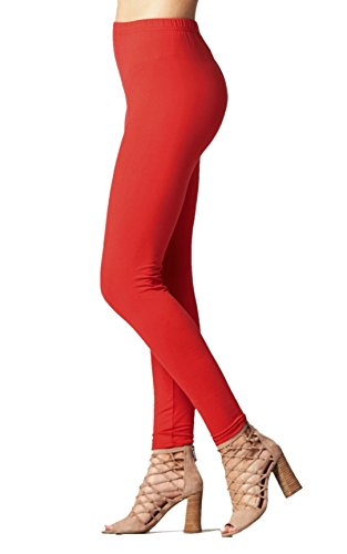 Premium Ultra Soft High Waisted Opaque Leggings for Women - Full Length - True Red - Plus Size -