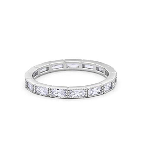 Blue Apple Co. 3mm Art Deco Baguette Full Eternity Wedding Band Ring Simulated Cubic Zirconia 925 Sterling Silver Size-8