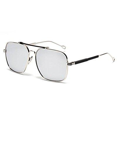 Konalla Vintage Square Flash Mirror UV Protection Unisex Sunglasses C4