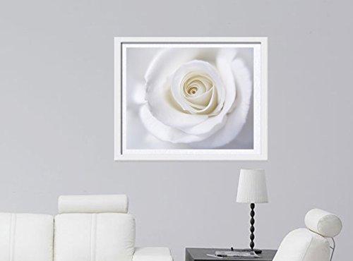 White Rose Art Print, Dreamy Flower Photography Print, White Wall Art, White Rose Decor, Cottage Chic Art, White Pale Grey Neutral Bathroom or Powder Room Decor
