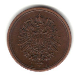 1875-A German Empire 1 Pfennig Coin KM#1