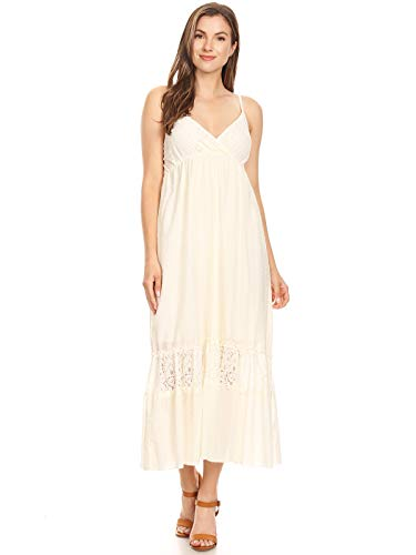 Anna-Kaci Womens Adjustable Spaghetti Strap Sleeveless Long Lace Boho Dress, Beige, Large