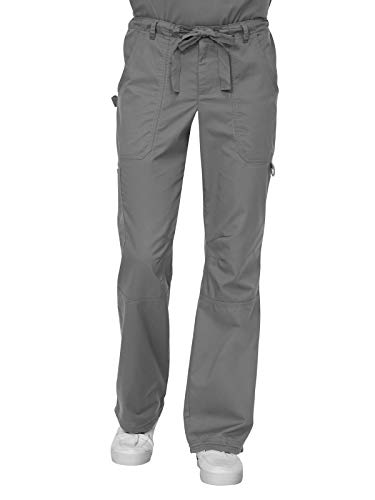 KOI Men's Big Tall James Elastic Scrub Pants with Zip Fly and Drawstring Waist, Steel Small - New Steel String
