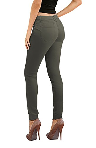 (Women's Butt Lift Stretch Denim Jeans-P37379SK-OLIVE-5)