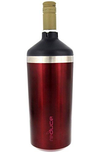 Portable Wine Bottle Cooler by REDUCE - Stainless Steel, Insulated Chiller to Keep Wine at the Perfect Temperature, No Ice Required - Ideal for Outdoor Summer Parties, Fits Most Wine Bottles – Red