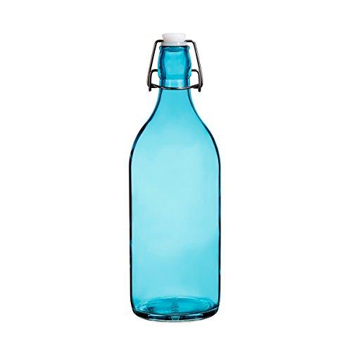 (Colorful Reusable Glass Water Bottles With Swing Top Leakproof Cap, 1L / 34oz, Flowersea Glasss Water Bottle for Oil, Vinegar, Beverages, Beer, Water, Kombucha, Kefir, Soda (Blue, Round))