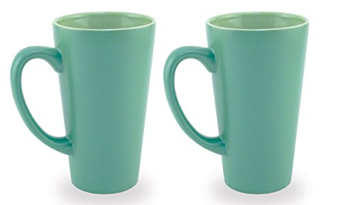 Light Green Mug - Funnel Large Handle Ceramic Coffee, Hot Cocoa & Tea Mug, Green w/ Light Green Interior 16oz. (Pack of 2)