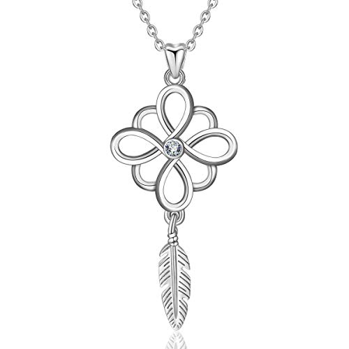 INFUSEU 925 Sterling Silver Celtic Infinity Knot Dreamcatcher Pendant Necklace CZ Jewelry for -