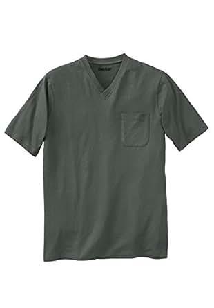 Kingsize Men's Big & Tall Lightweight Cotton V-Neck Tee Shirt With Pocket,