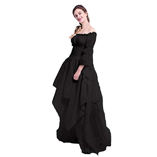 - ♡QueenBB♡ Women Renaissance Dress Costume Pirate Peasant Wench Medieval Boho Chemise Casual Long Sleeve Off Shoulder Skirt Black