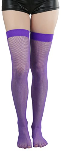 ToBeInStyle Women's Bright Exotic Long Fishnet Thigh High Socks Hosiery - Purple - One Size: (Purple Fishnets)