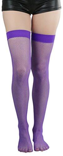 ToBeInStyle Women's Bright Exotic Long Fishnet Thigh High Socks Hosiery - Purple - One Size: Plus