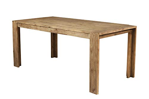 Alpine Furniture Rectangular Wooden Dining Table with Fixed Top and Block Legs, Brown ()