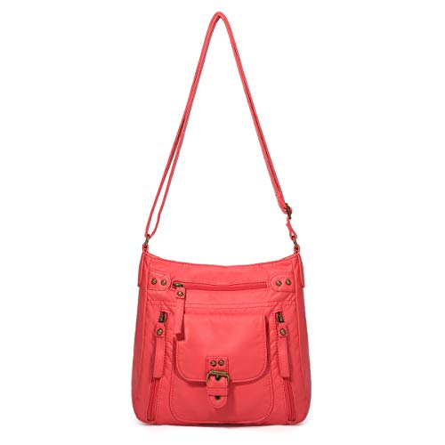 - K.EYRE Crossover Purse and Handbags Crossbody Bags for Women Soft Leather Wallet Small Neatpack Bag with Pockets Coral Red, Medium