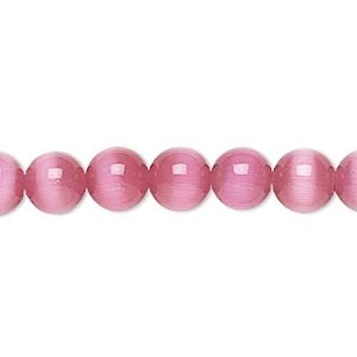 1 Strand Dark Pink Cat's Eye Fiber Optic Glass 8Mm Round Grade A Beads