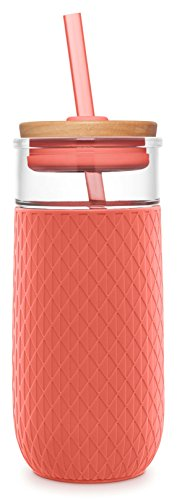 Ello Devon Glass Tumbler With Straw, Coral, 20 oz