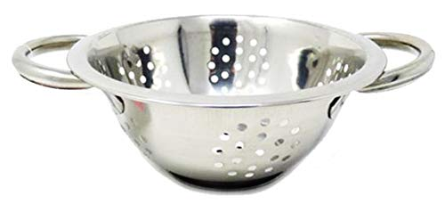 Small Stainless Steel Colander Mini Metal Collander Baby Berry Strainer Basket Fruit Drainer Steamer with Handles Footed Pedestal