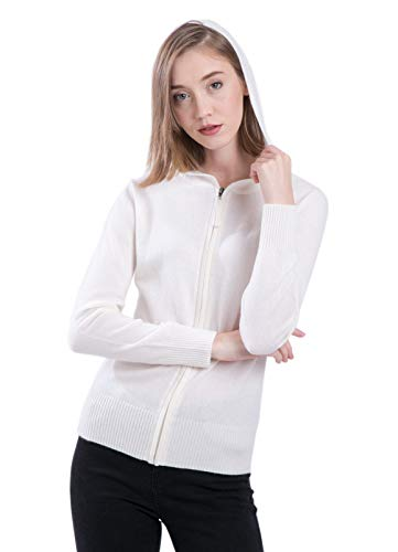 LEBAC Women's 100% Cashmere Zip Up Sweater Pullover with Hood Off White