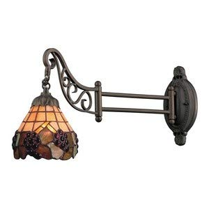 Elk 079-Tb-07 Grapevine Mix-N-Match 1-Light Swing Arm Sconce, 12-Inch, Tiffany -