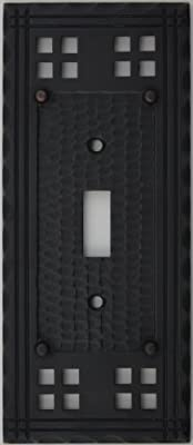 Arts & Crafts Mission Style Oil Rubbed Bronze One Gang Switch Plate - One Toggle Light Switch Opening