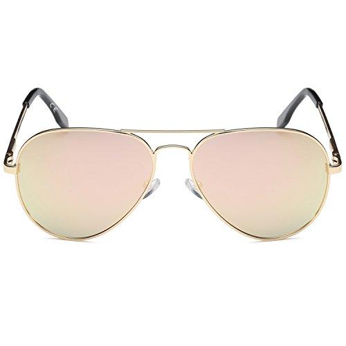 polarizadas revo lentes sol Metal marco Gafas de amztm Rosa de puente aviador doble espejo qTYX0