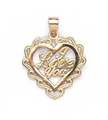 14 Carats Pendentif cœur I Love You-JewelryWeb